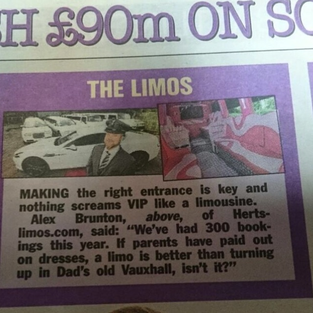 Herts Limos Features In The Sun Newspaper